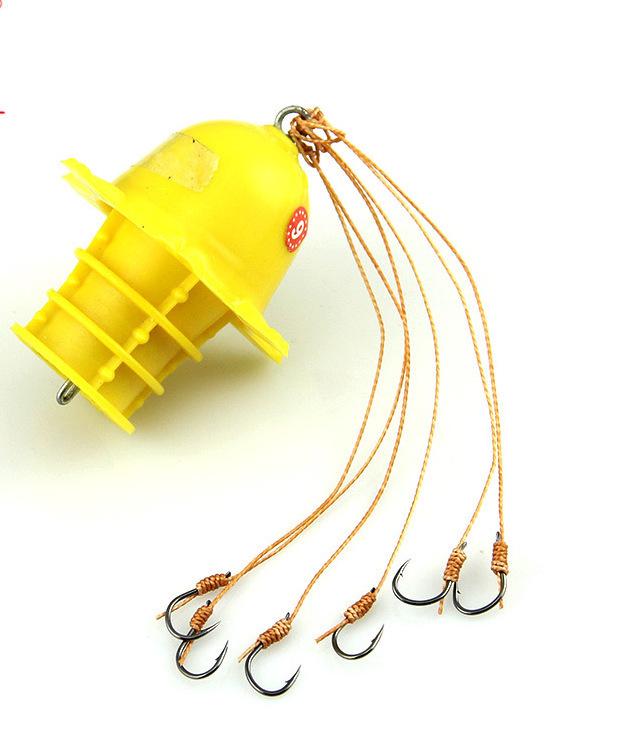 海竿上炸弹钩组 钓底和钓浮 qq82137888 ①炸弹钩一般用糟食作饵,饵