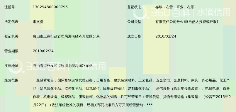 上海合德国际物流有限公司唐山海港分公司
