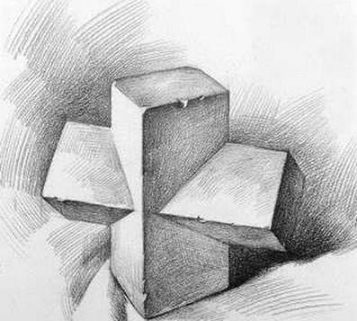 六棱柱明暗素描画法步骤图片